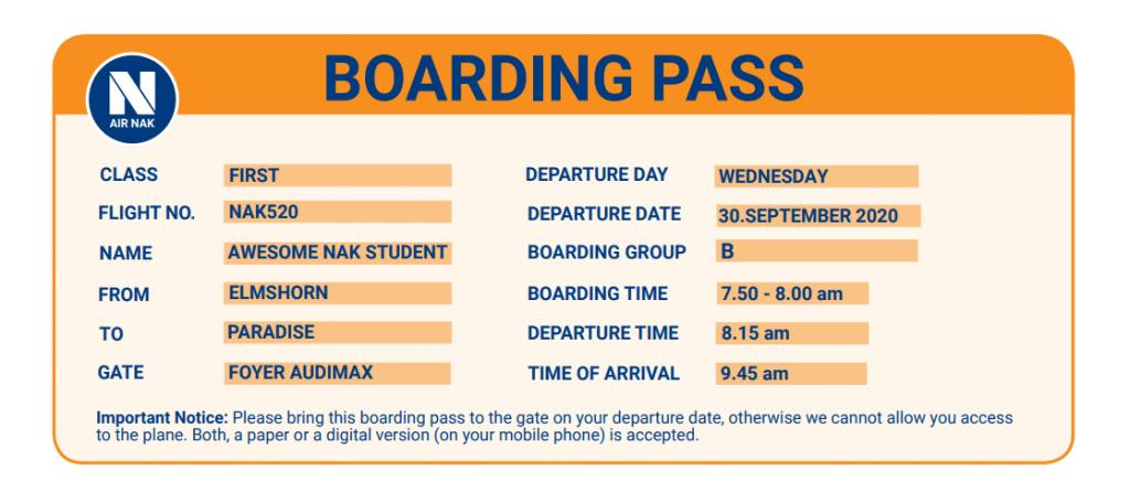 Boarding Pass Klausuren